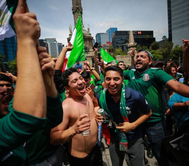 mexican fans celebrating during the world cup
