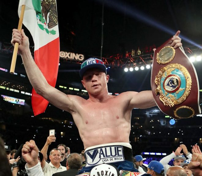 canelo celebrating his victory over ggg