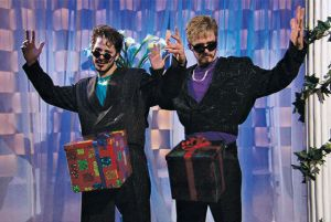 justin timberlake and andy samberg with their dicks in boxes from the video for the song