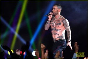 shirtless, singing adam levine