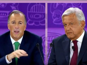 josé antonio meade debating andrés manuel lopez obrador during the 2018 presidential election