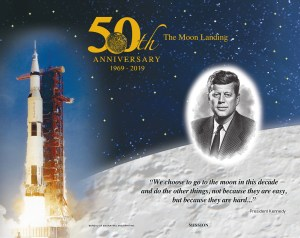50th anniversary commemoration of apollo 11 moon landing with quote from jfk