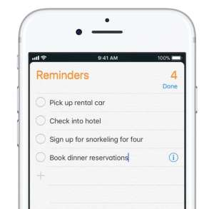 reminders on an iPhone
