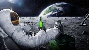 an astronaut kicking back and enjoying a beer on the moon