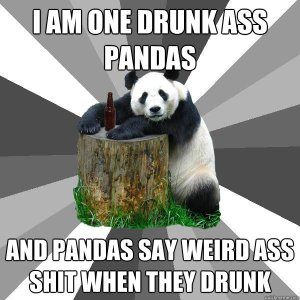 meme of a panda leaning on a tree stump that has a beer on it. the text reads: i am one drunk ass pandas. and pandas say weird ass shit when they drunk