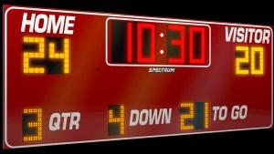 football scoreboard. american football