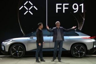 nick sampson & jja yueting present the ff 91 at an event at the 2017 ces