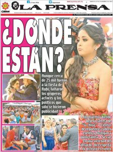 la prensa's front page from the day after rubi's quinceanera