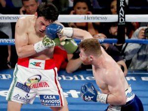 canelo lands a punch to chavez jr's face