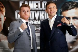 canelo alvarez and gennady golovkin pose to promote their pending fight