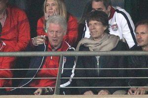 bill clinton & mick jagger watching u.s. vs ghana at the 2010 world cup