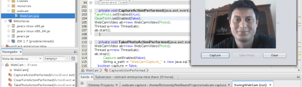 WebCam trabajando con Java, jLabel, swing, opencv y javacv