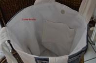 borsa jeans con fascia bianca interno