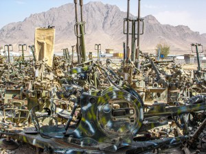 Scrapped anti-aircraft guns held in an Afghan Army compound in Kabul