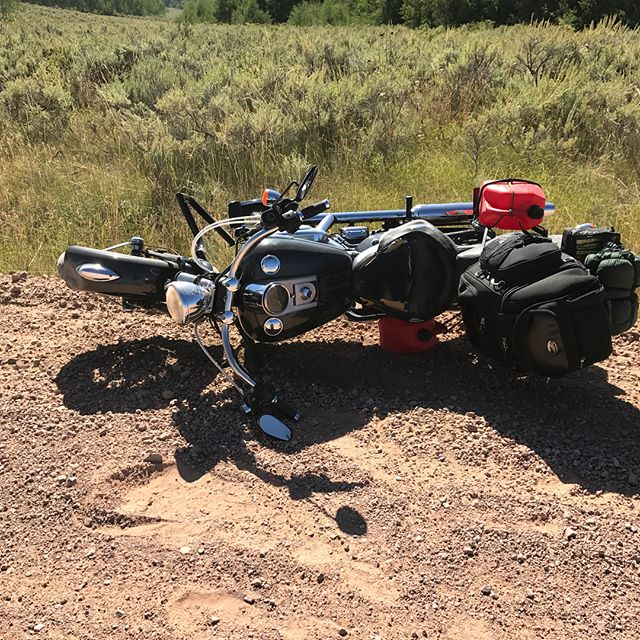 At approximately 102,520 miles, I finally wrecked. I'm ok, just my pride. Google maps didn't indicate I was heading toward a dirt road. :: sigh :: #harleydavidson #overthehill #endoftheworld #tour #wrecked #imokay