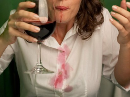 Red Wine Stain on White Blouse