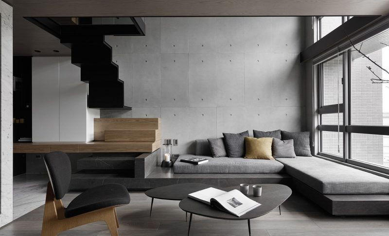 black with grey living room ideas