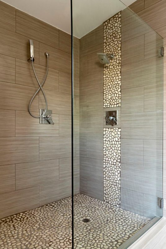 bathroom shower tile ideas with pebbles