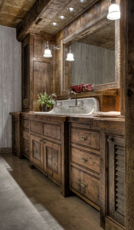 rustic bathroom vanities with a darker wood tone