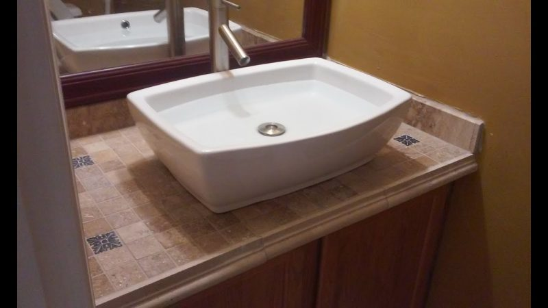 bathroom vanity with tops made of tiles