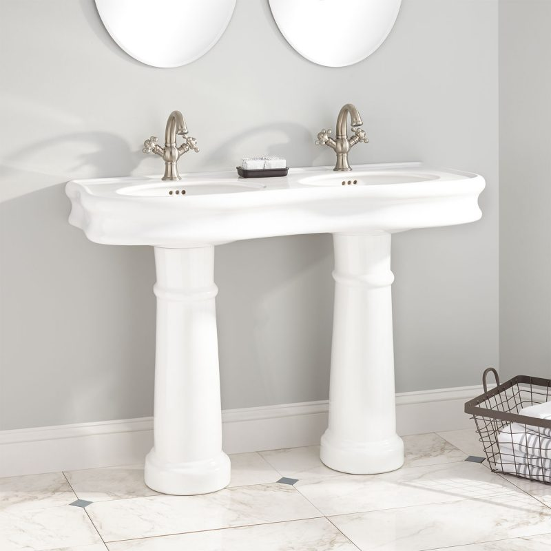 white and sleek bathroom vanities double sink