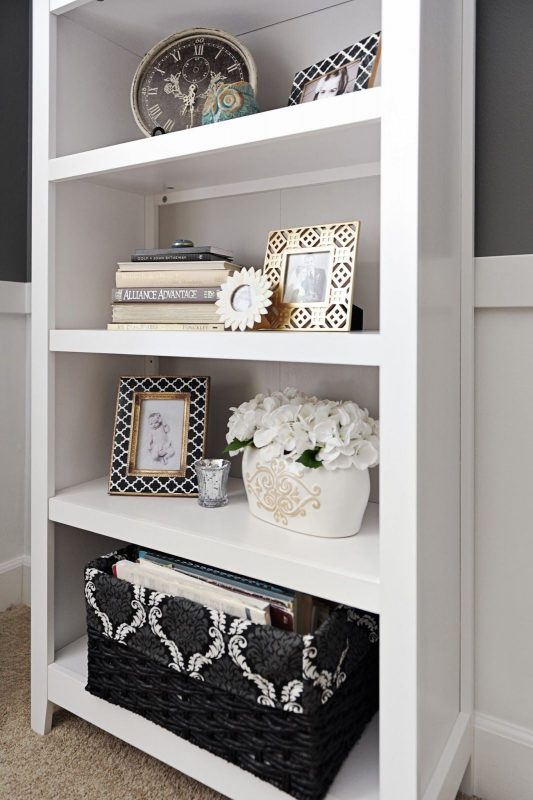 another white color bookshelf décor ideas