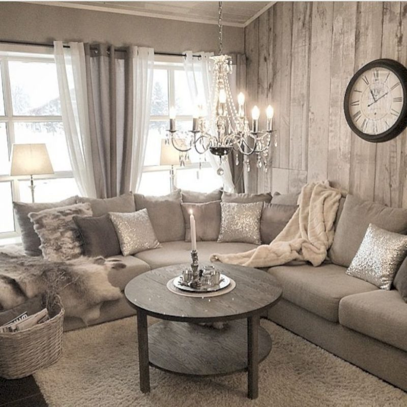 All Silver Tone Rustic Living Room Ideas