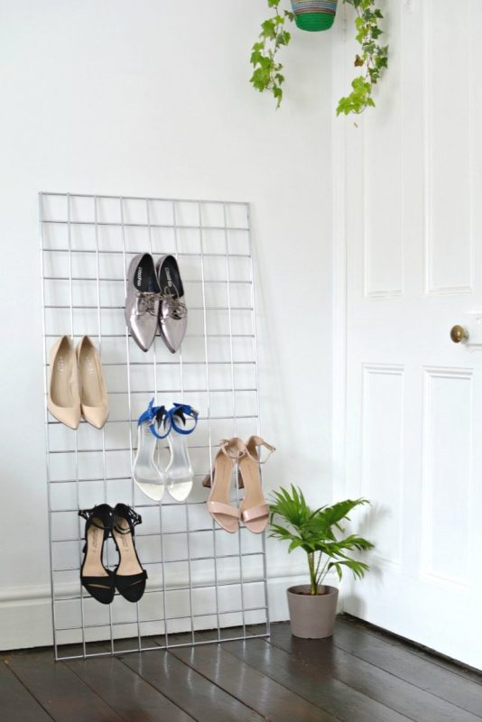 shoe rack ideas only using wire mesh