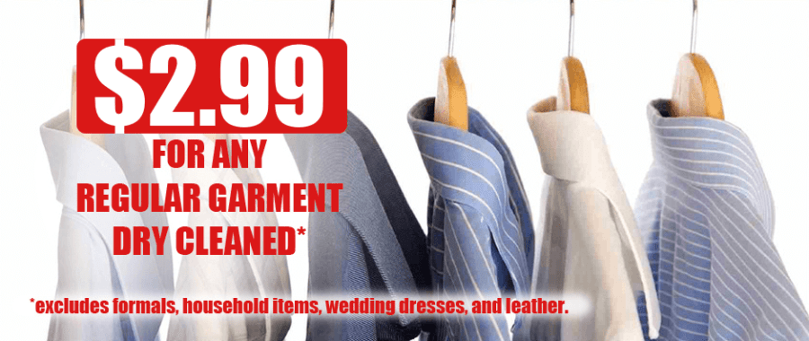 $2.99 Any Garment Dry Cleaned