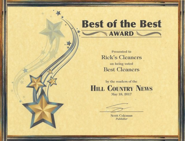 Rick's Cleaners Wins Best of the Best Award 2017
