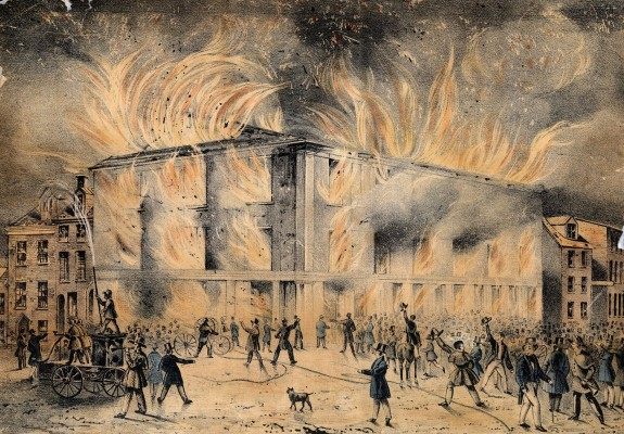 1838 burning of the abolitionists' meeting hall. (Pennsylvania Hall) Firefighters doused neighboring buildings, but let the hall burn.