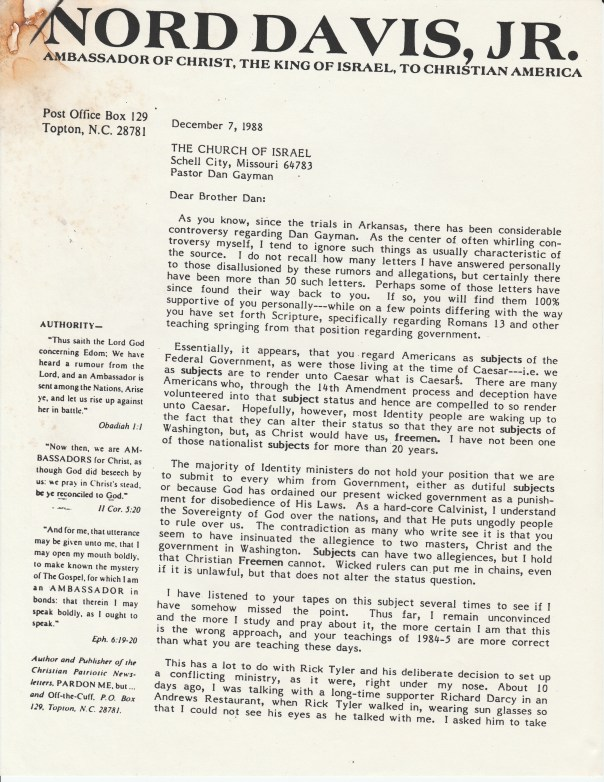Letter from Nord to Dan page 1