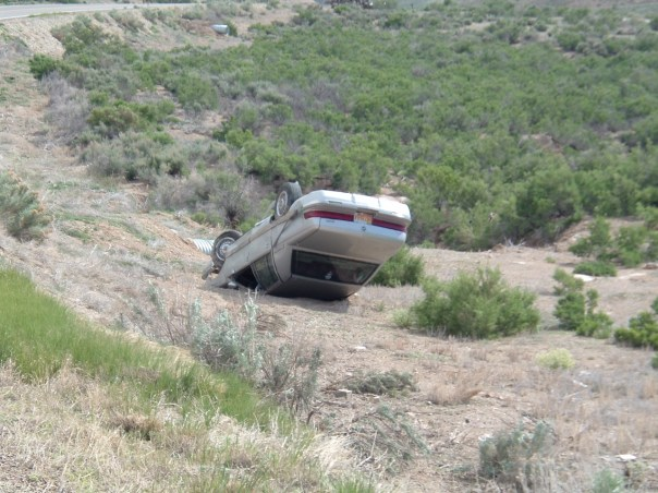 Overturned Car in Utah