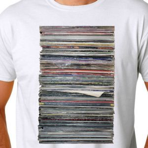 Record Stack, White T-Shirt