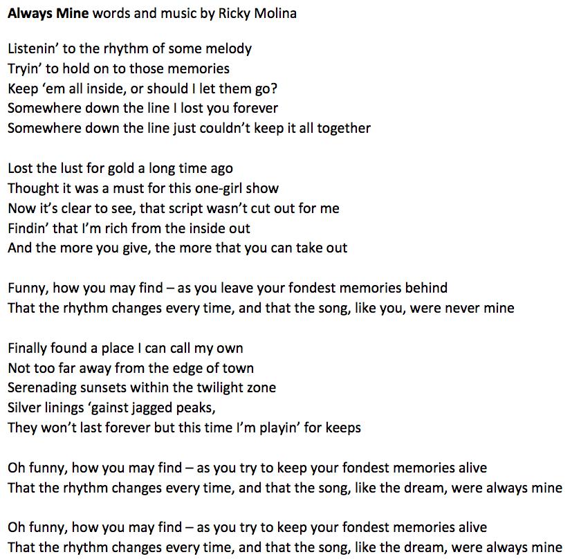 Always Mine by Ricky Molina Lyrics