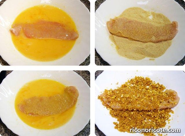Pechugas empanadas con salsa de champiñones