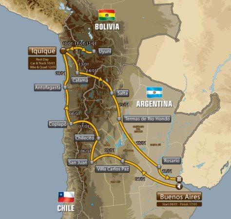 carte du parcours Dakar 2015