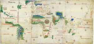 Earliest European map of Florida & Brazil (1502)