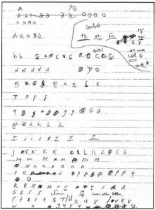 Courtney Love imitating Kurt Cobain's handwriting