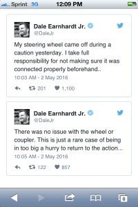 Dale, Jr tweets steering wheel fail