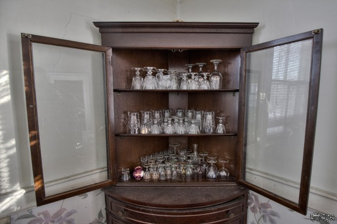 drinkware in a hutch