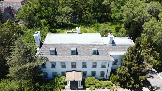 Drone shot of the mansion