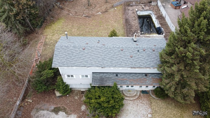 Drone shot of the abandoned home