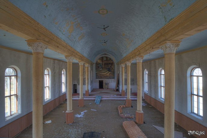 Balcony view of the abandoned church