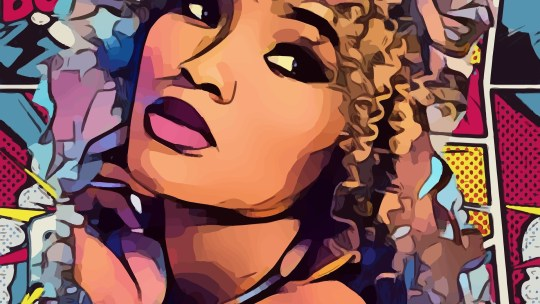 Bande Dessinée : une jeune femme dessinée avec des cases de BD en second plan