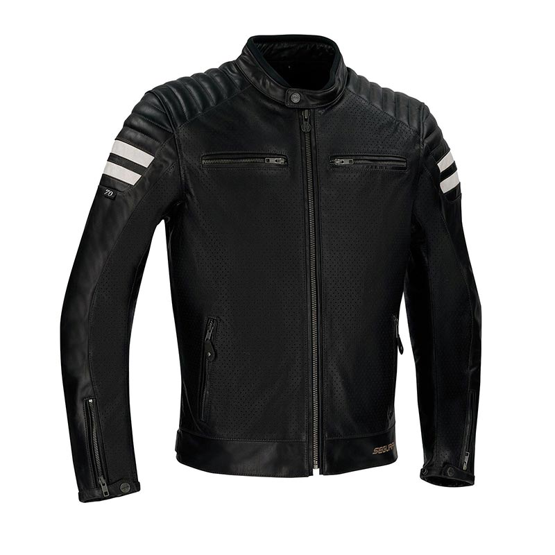 Équipement Moto Vintage : Blouson Moto Segura Stripe Perfo noir blanc