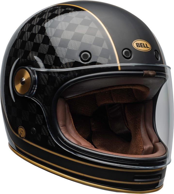 Équipement Moto Vintage : Casque intégral Bell Bullitt Carbon RSD Check It Black