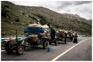 Die Yak-Familien ziehen mit den Yaks