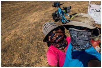 Unsere Lösung während des Tages zur Fliegenabwehr ist ein Buff, unter einem Fliegennetz wird es irgendwie zu warm. Der Buff funktioniert recht gut.