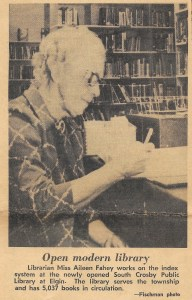 Miss Aileen Fahey at the desk of South Crosby Public Library in1972.
